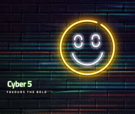 Neon smiley face against a dark brick wall for Cyber 5 Front Runner campaign>